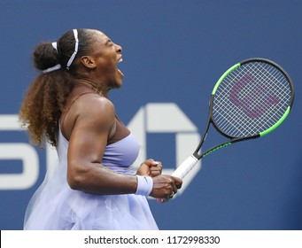 NEW YORK - SEPTEMBER 2, 2018: 23-time Grand Slam champion Serena Williams in action during her 2018 US Open round of 16 match at Billie Jean King National Tennis Center