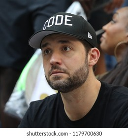 NEW YORK - SEPTEMBER 2, 2018: 23-time Grand Slam champion Serena Williams husband Alexis Ohanian attends 2018 US Open round of 16 match at Billie Jean King National Tennis Center