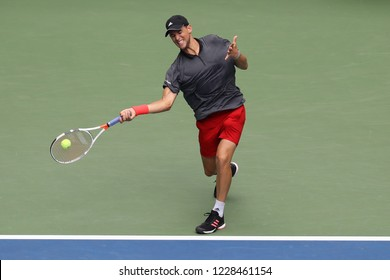 NEW YORK - SEPTEMBER 2, 2018: Professional tennis player Dominic Thiem of Austria in action during his 2018 US Open round of 16 match at Billie Jean King National Tennis Center