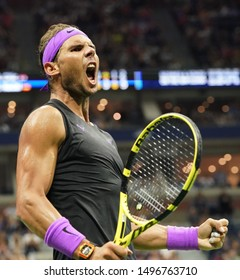 NEW YORK - SEPTEMBER 2, 2019: 18-time Grand Slam champion Rafael Nadal of Stain in action during the 2019 US Open round of 16 match against Marin Cilic at Billie Jean King National Tennis Center