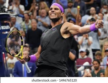 NEW YORK - SEPTEMBER 2, 2019: Grand Slam champion Rafael Nadal of Spain celebrates victory against Marin Cilic after the 2019 US Open round of 16 match at Billie Jean King National Tennis Center