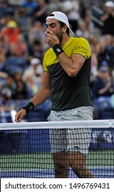 NEW YORK - SEPTEMBER 2, 2019: Professional tennis player Matteo Berrettini of Italy celebrates victory after the 2019 US Open round of 16 match against Andrey Rublev at Billie Jean King National Tenni
