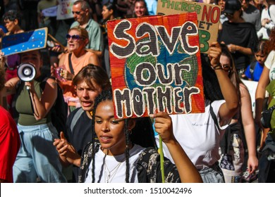 NEW YORK - SEPTEMBER 20, 2019: People of all ages gather to march through downtown Manhattan to protest government and corporate inaction in effectively addressing climate change.