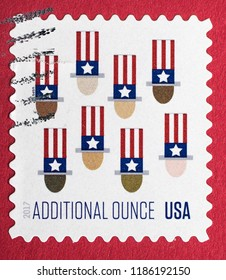 New York, September 22, 2018: US postage stamp for an additional ounce.