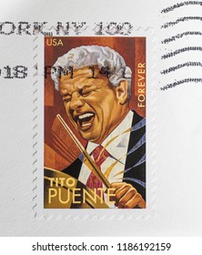 New York, September 22, 2018: USA forever stamp with a portrait of Tito Puente.