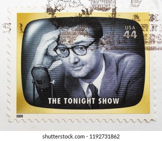 New York, September 22, 2018: US postage stamp commemorating the first host of The Tonight Show, Steve Allen.