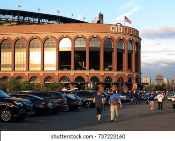 NEW YORK - SEPTEMBER 22: Jackie Robinson Rotunda and fans at Citi Field on September 22, 2017 in New York. The rotunda is the entrance to the baseball home of the New York Mets.