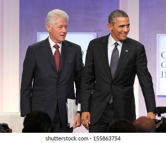 NEW YORK - SEPTEMBER 24:  Bill Clinton and President Barack Obama attend the Clinton Global Initiative Annual Meeting at The Shertaon New York Hotel on September 24, 2013 in New York City.