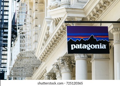 New York, September 25, 2017: Patagonia store logo above the entrance to their store in SoHo.