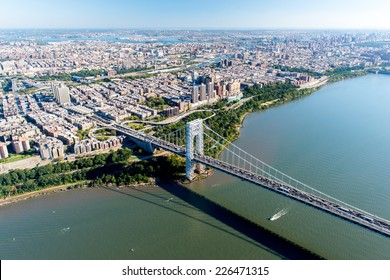 NEW YORK, NEW YORK - SEPTEMBER 27, 2014: Stunning aerial view of the George Washington Bridge from a helicopter.