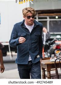NEW YORK - SEPTEMBER 28: Garrett Hedlund is seen in East Village on September 28, 2016 in New York City.