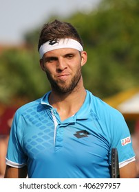 NEW YORK - SEPTEMBER 3, 2015: Professional tennis player Jiri Vesely of Czech Republic  in action during his second round match at US Open 2015 at National Tennis Center in New York