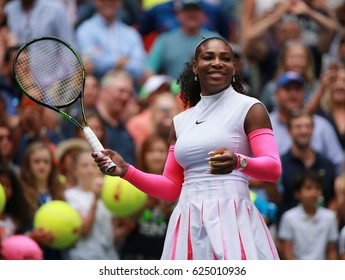 NEW YORK - SEPTEMBER 3, 2016: Grand Slam champion Serena Williams of United States celebrates victory after her round three match at US Open 2016 at Billie Jean King National Tennis Center in New York