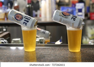 NEW YORK - SEPTEMBER 3, 2017: Miller Lite beer ready to serve in pub. Miller Lite, also known simply as Lite, is a pilsner light beer brand sold by MillerCoors of Milwaukee, Wisconsin, USA