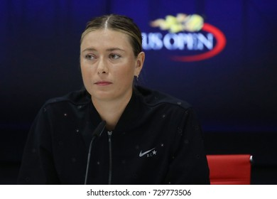 NEW YORK - SEPTEMBER 3, 2017: Five times Grand Slam Champion Maria Sharapova of Russia during press conference after her US Open 2017 third round match at Billie Jean King National Tennis Center