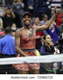 NEW YORK - SEPTEMBER 3, 2017: Grand Slam champion Venus Williams of United States celebrates victory after her round 4 match at 2017 US Open at Billie Jean King National Tennis Center in New York