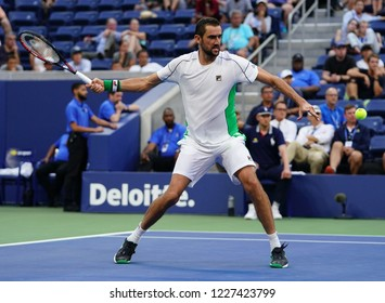 NEW YORK - SEPTEMBER 3, 2018: Grand Slam Champion Marin Cilic of Croatia in action during his 2018 US Open round of 16 match at Billie Jean King National Tennis Center