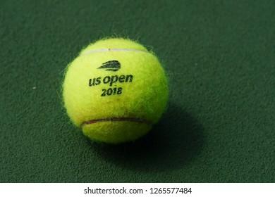 NEW YORK - SEPTEMBER 3, 2018: US Open Wilson tennis ball at Billie Jean King National Tennis Center in New York. Wilson is the Official Ball of the US Open since 1979