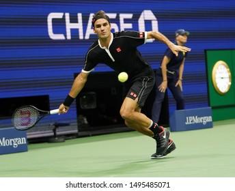 NEW YORK - SEPTEMBER 3, 2019: 20-time Grand Slam champion Roger Federer of Switzerland in action during the 2019 US Open quarter-final match against Grigor Dimitrov in New York