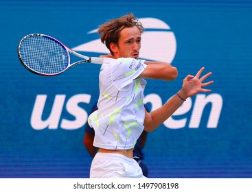 NEW YORK - SEPTEMBER 3, 2019: Professional tennis player Daniil Medvedev  of Russia in action during the 2019 US Open quarter-final match at Billie Jean King National Tennis Center in New York