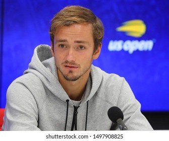 NEW YORK - SEPTEMBER 3, 2019: Professional tennis player Daniil Medvedev  of Russia during press conference after the 2019 US Open quarter-final match at Billie Jean King National Tennis Center