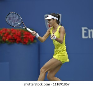 NEW YORK - SEPTEMBER 3: Ana Ivanovic of Serbia returns ball during 4th round match against Tsvetana Pironkova of Bulgaria at US Open tennis tournament on September 3, 2012 in Flashing Meadows New York