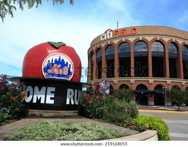 NEW YORK - SEPTEMBER 3: Famous Home Run Apple from demolished Shea Stadium on display outside Citi Field on September 3, 2014 in New York. The apple now greets fans from the No. 7 train subway.