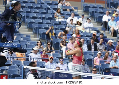 NEW YORK - SEPTEMBER 3 Two times Grand Slam champion Victoria Azarenka argues with chair umpire during quarterfinal match at US Open 2013 at Arthur Ashe Stadium on September 3, 2013 in New York