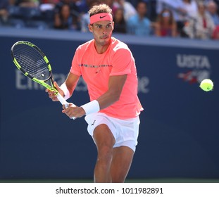 NEW YORK - SEPTEMBER 4, 2017: Grand Slam champion Rafael Nadal of Spain in action during his US Open 2017 round 4 match at Billie Jean King National Tennis Center