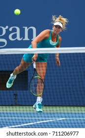 NEW YORK - SEPTEMBER 4, 2017: Professional tennis player CoCo Vandeweghe of United States in action during her US Open 2017 round 4 match at Billie Jean King National Tennis Center