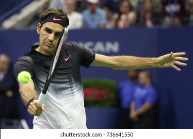 NEW YORK - SEPTEMBER 4, 2017: Grand Slam champion Roger Federer of Switzerland in action during his US Open 2017 round 4 match at Billie Jean King National Tennis Center