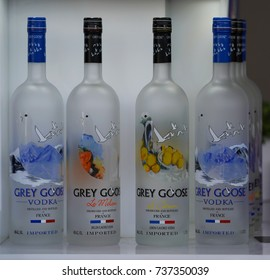 NEW YORK - SEPTEMBER 4, 2017: Grey Goose vodka presented at the National Tennis Center during US Open 2017 in New York. Grey Goose is a proud promotional partner for the 2017 US Open