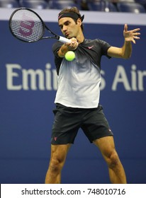 NEW YORK - SEPTEMBER 4, 2017: Grand Slam champion Roger Federer of Switzerland in action during his US Open 2017 round 4 match at Billie Jean King National Tennis Center