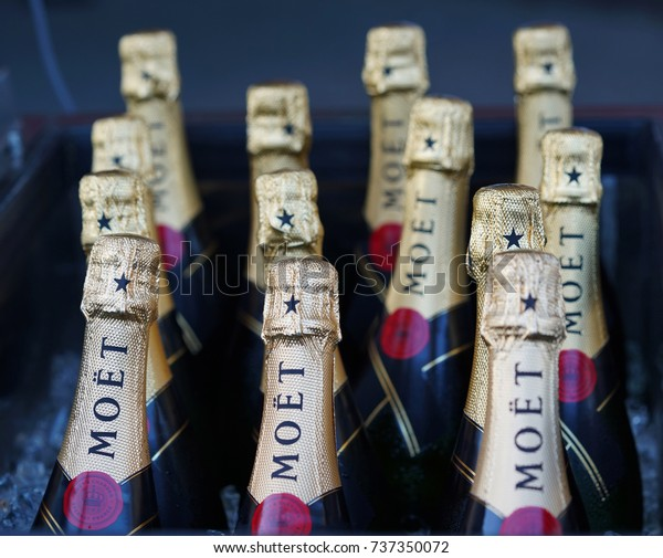 NEW YORK - SEPTEMBER 4, 2017: Moet and Chandon champagne presented at the National Tennis Center during US Open 2017 in New York. Moet and Chandon is the official champagne of the US Open