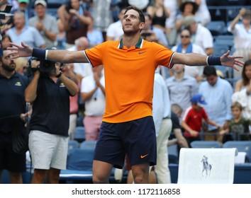 NEW YORK - SEPTEMBER 4, 2018: Grand Slam champion Juan Martin Del Potro of Argentina celebrates victory after his 2018 US Open quarterfinal match at Billie Jean King National Tennis Center
