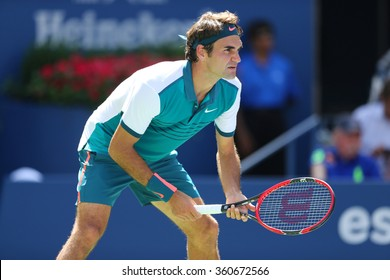 NEW YORK -SEPTEMBER 5, 2015: Seventeen times Grand Slam champion Roger Federer of Switzerland in action during his third round match at US Open 2015 at National Tennis Center in NY