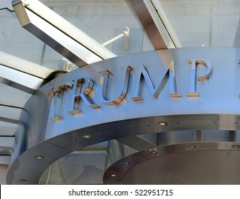 NEW YORK SEPTEMBER 5, 2015. Displaying childish behavior postelection, liberal residents of the luxury Trump Place apartments in Manhattan signed a petition to remove the Trump name from the buildings