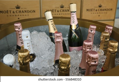 NEW YORK - SEPTEMBER 5, 2016: Moet and Chandon champagne presented at the National Tennis Center during US Open 2016 in New York. Moet and Chandon is the official champagne of the US Open