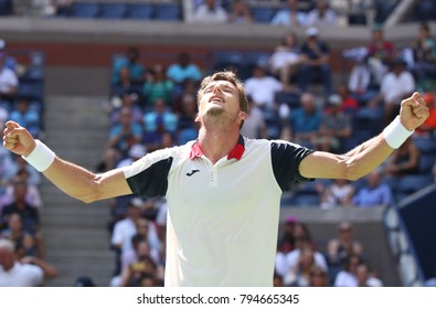 NEW YORK - SEPTEMBER 5, 2017: Professional tennis player Pablo Carreno Busta of Spain celebrates victory after his quarterfinal match at 2017 US Open at Billie Jean King National Tennis Center