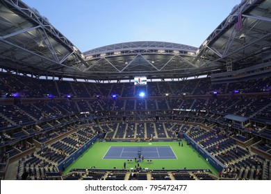 NEW YORK - SEPTEMBER 5, 2017: Arthur Ashe Stadium at Billie Jean King National Tennis Center during night session at US Open 2017 in New York.