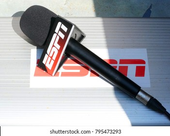 NEW YORK - SEPTEMBER 5, 2017: ESPN microphone ready for interview during US Open 2017 quarterfinal match at Arthur Ashe Stadium