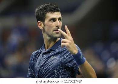 NEW YORK - SEPTEMBER 5, 2018: 13-time Grand Slam champion Novak Djokovic of Serbia in action during his 2018 US Open quarter-final match at Billie Jean King National Tennis Center