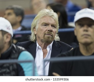 NEW YORK - SEPTEMBER 5: Richard Branson attends quarterfinal match between Novak Djokovic of Serbia & Mikhail Youzhny of Russia  at USTA Billie Jean King National Tennis Center on Sep 5, 2013 in NYC