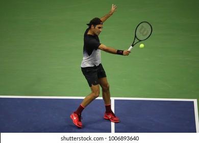 NEW YORK - SEPTEMBER 6, 2017: Grand Slam champion Roger Federer of Switzerland during his US Open 2017 quarterfinal match against Juan Martin Del Potro at Arthur Ashe Stadium