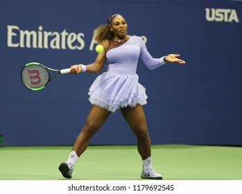 NEW YORK - SEPTEMBER 6, 2018: 23-time Grand Slam champion Serena Williams in action during her 2018 US Open semi-final match at Billie Jean King National Tennis Center