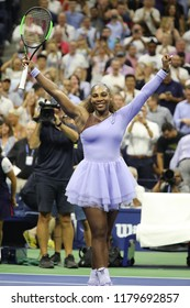 NEW YORK - SEPTEMBER 6, 2018: 23-time Grand Slam champion Serena Williams celebrates victory after her 2018 US Open semi-final match at Billie Jean King National Tennis Center
