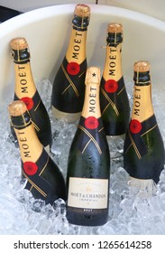NEW YORK - SEPTEMBER 6, 2018: Moet and Chandon champagne presented at the National Tennis Center during US Open 2018 in New York. Moet and Chandon is the official champagne of the US Open