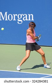 NEW YORK - SEPTEMBER 7, 2015: Junior tennis player Alexa Graham of United States during match at the Billie Jean King National Tennis Center  in New York