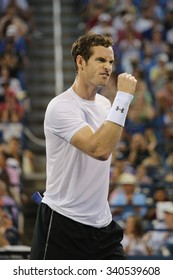 NEW YORK - SEPTEMBER 7, 2015: Grand Slam Champion Andy Murray in action during US Open 2015 round four match at Billie Jean King National Tennis Center in New York