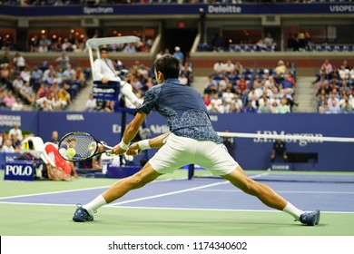 NEW YORK - SEPTEMBER 7, 2018: 13-time Grand Slam champion Novak Djokovic of Serbia in action during his 2018 US Open semi-final match at Billie Jean King National Tennis Center